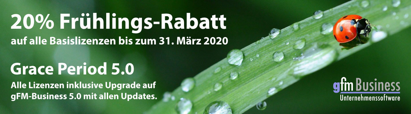 20% Rabatt und Grace Period gFM-Business ERP-Software