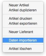 Funktion zum Datenimport von Artikeln