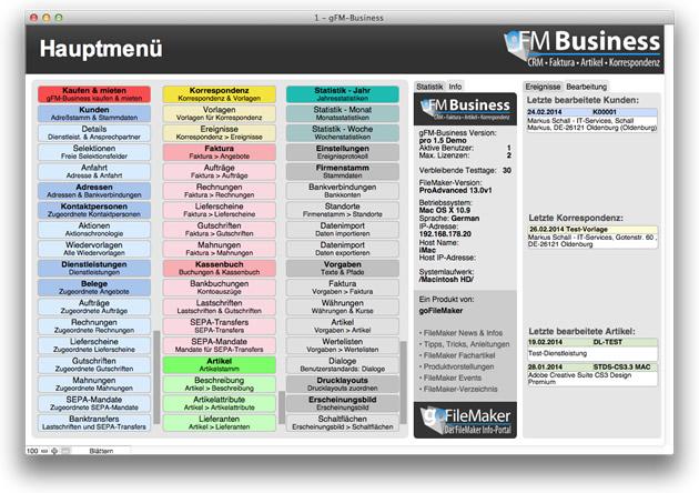 gFM-Business 1.5 Hauptmenü