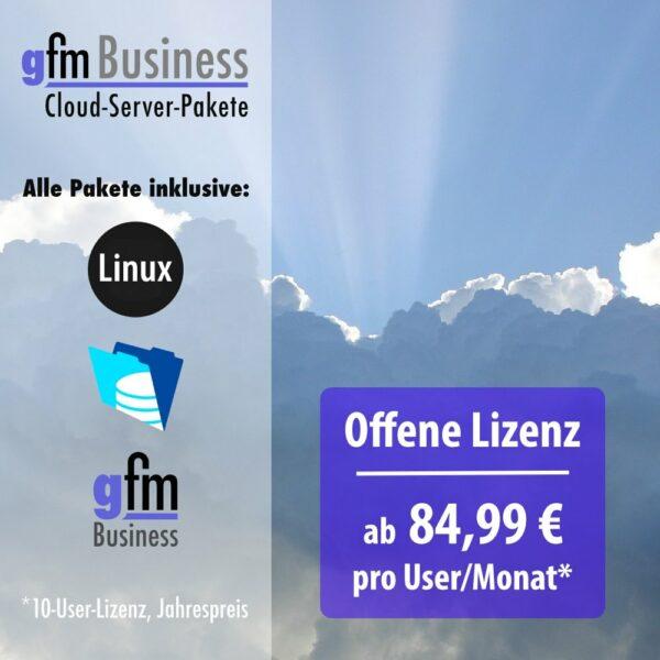 gFM-Business ERP-Software Cloud-Server-Paket für offene Lizenz