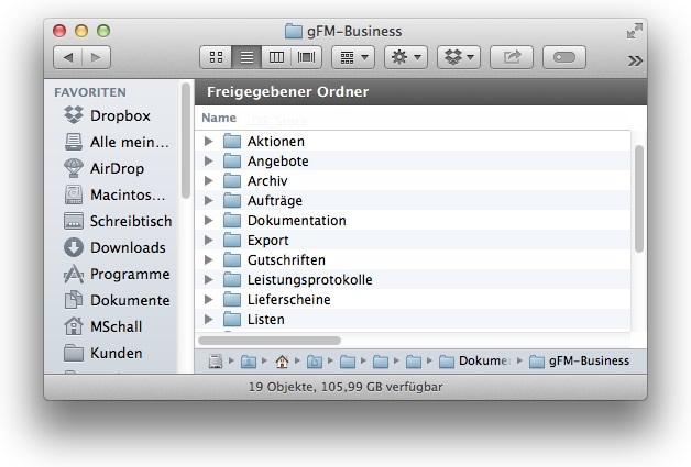 Dokumentverzeichnis von gFM-Business