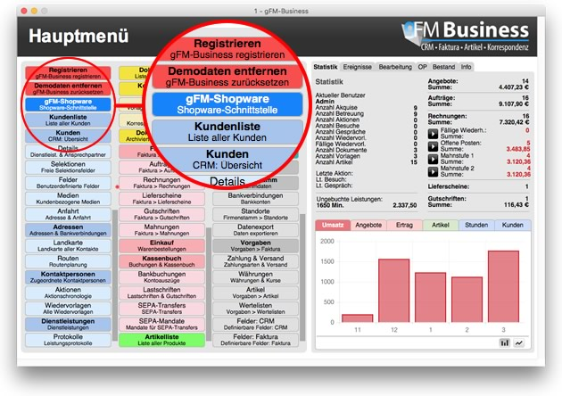 gFM-Shopware im gFM-Business Hauptmenü