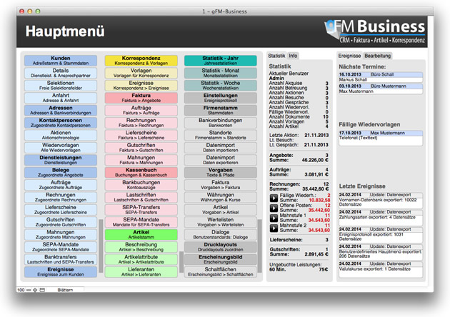 gFM-Business - Hauptmenü