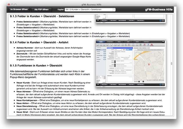 gFM-Business Hilfesystem