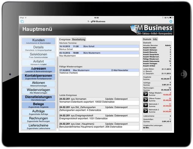gFM-Business Warenwirtschaft auf dem iPad.