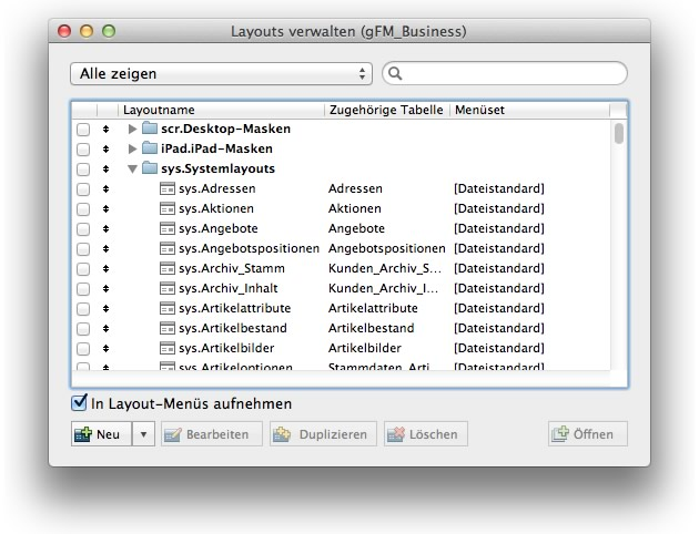 Layouts in gFM-Business