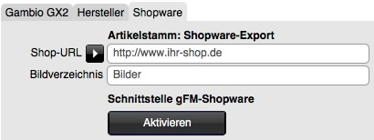 gFM-Shopware in gFM-Business aktivieren