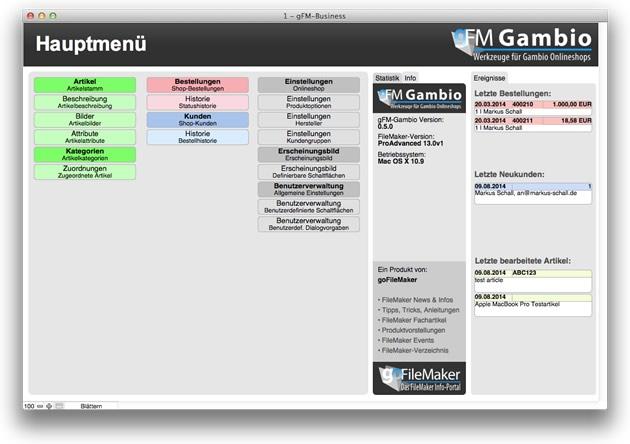 gFM-Gambio Hauptmenü
