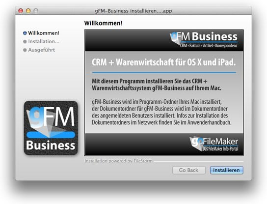 gFM-Business Installation unter Mac OS X