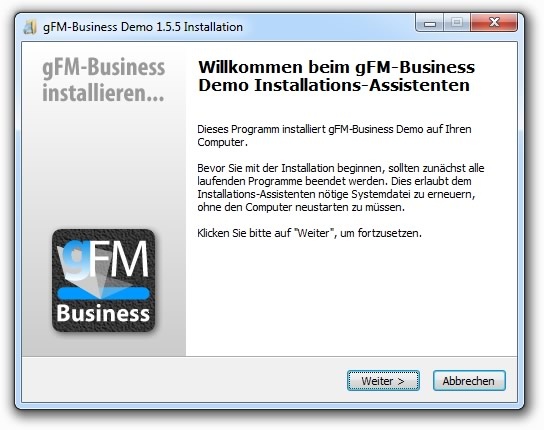 gFM-Business Installation unter Windows