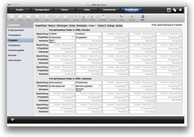 Frei definierbare Felder im CRM pro Kunde und pro Adresse