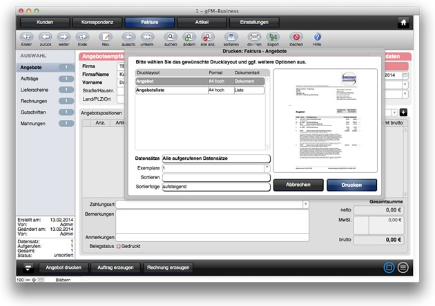 gFM-Business free mit FileMaker 13 Popovers
