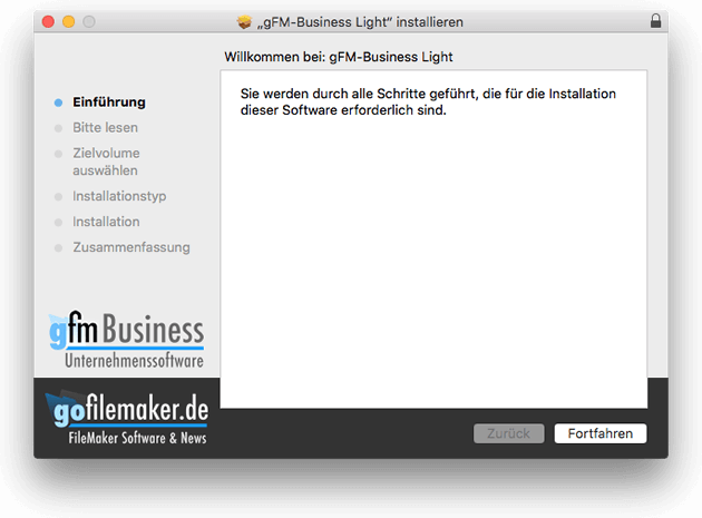 Neues Installationsprogramm von gFM-Business