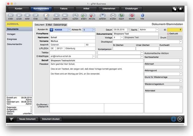 Kunden-E-Mail eines Bestellstatus in gFM-Business