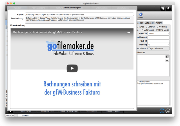 Video-Anleitungen in gFM-Business Rechnungsprogramm