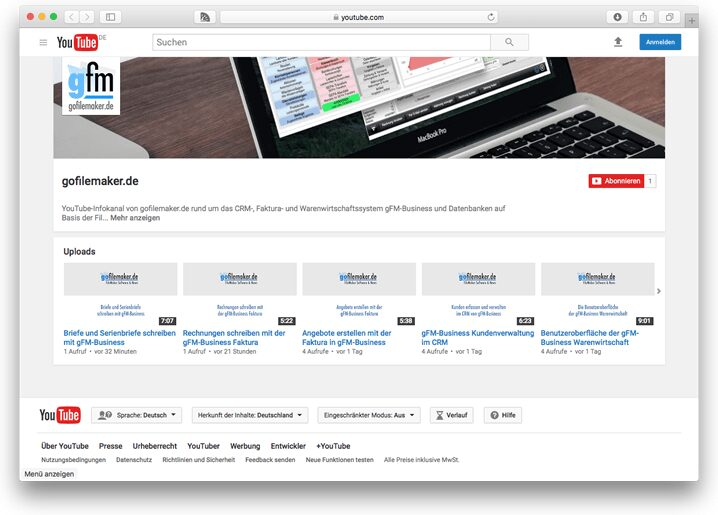 Video-Anleitungen im YouTube-Kanal