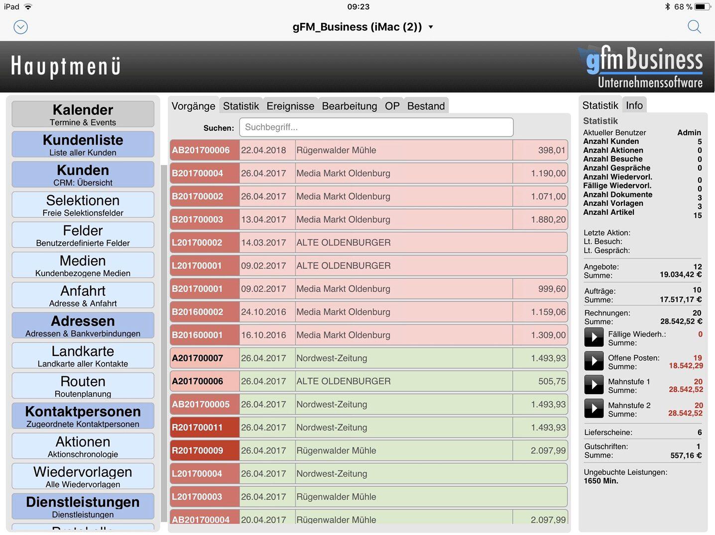 iPad: Hauptmenü