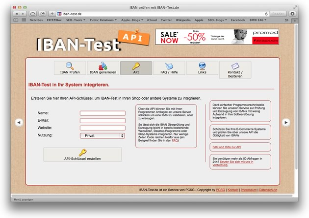 Authcode bei iban-test.de beantragen