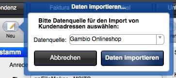 Datenimport aus einem Gambio GX2 Onlineshop