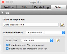 FileMaker Inspektor: Einblendmenü