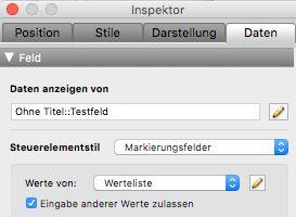 FileMaker Inspektor für Markierungsfelder