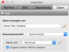 FileMaker Inspektor für Optionsfelder