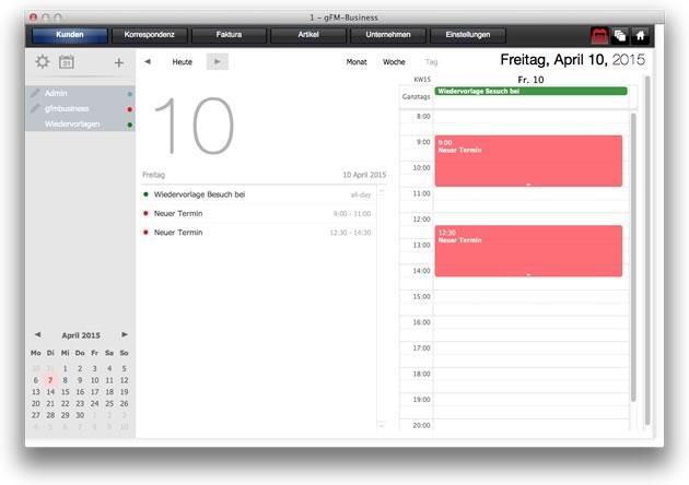 Kalender: Tagesansicht