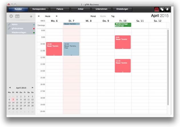 Kalender: Wochenansicht