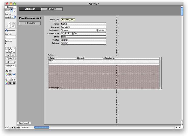 FileMaker Grundlayout mit Schaltflächen