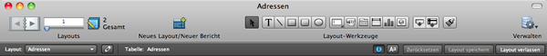 FileMaker-Ansicht Layoutmodus