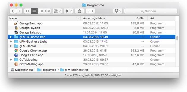 Mac: Programmverzeichnis löschen