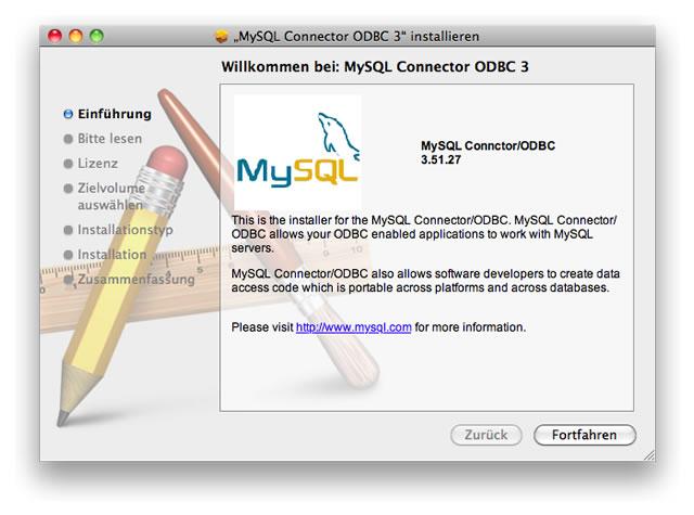 Installation des ODBC Connector für Mac OS X.