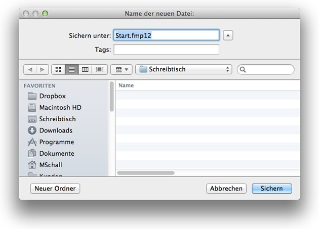 Neue Datenbank in FileMaker erstellen