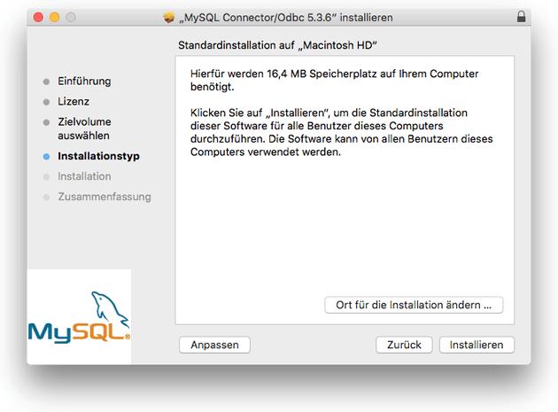 MySQL ODBC-Connector für Mac installieren
