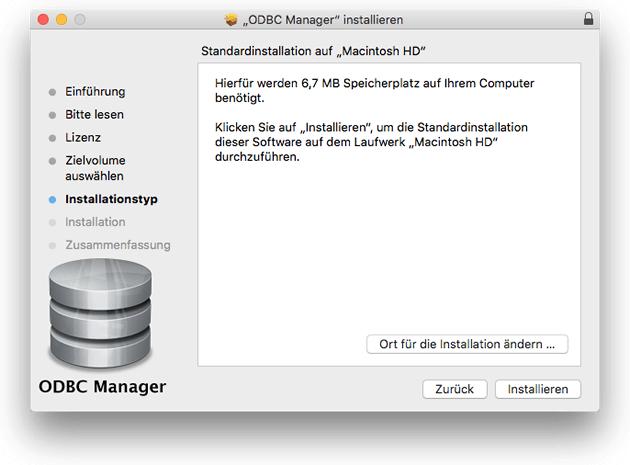 ODBC-Manager auf dem Mac installieren