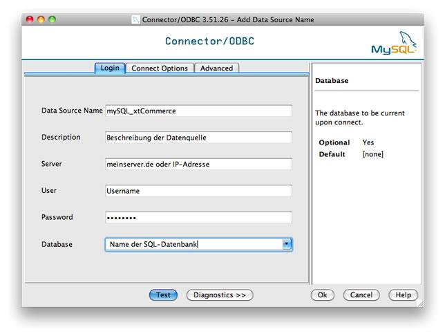 Konfiguration der ODBC-Datenquelle