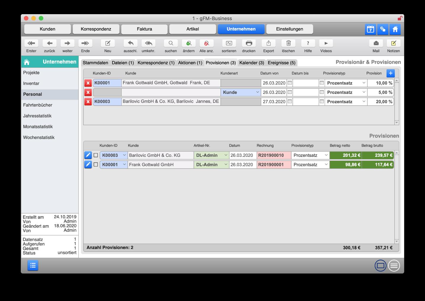 Personalverwaltung mit automatischer Abrechnung von Provisionen