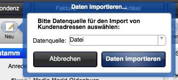 Daten importieren in gFM-Business free und Basic