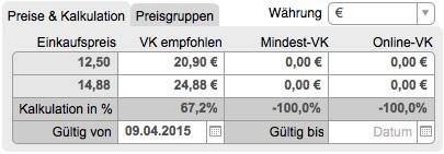 Preise und Kalkulation, Preisgruppen