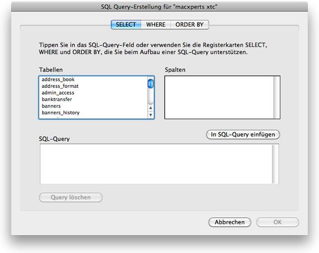 Assistent zur Erstellung einer SQL Query