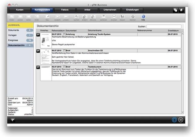 Screenshot: Dokumentarchiv im Modul 'Korrespondenz'