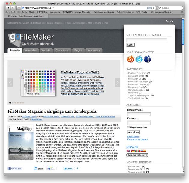 goFileMaker.de im Januar 2011