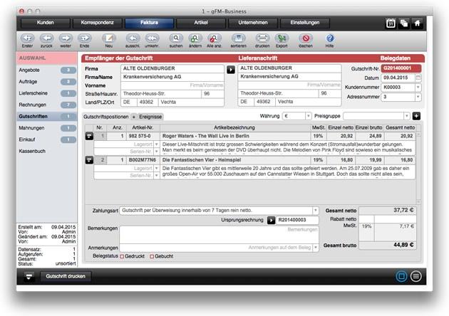 Erstellung und Verwaltung von Gutschriften