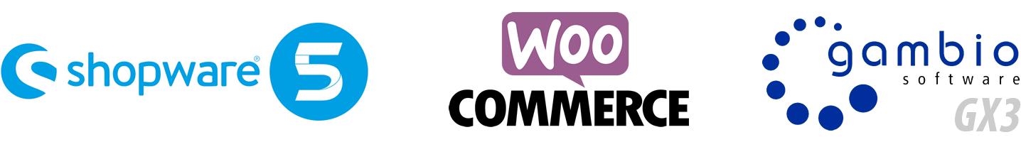 Onlineshop-Schnittstellen zu Shopware 5, Gambio GX3 und WooCommerce