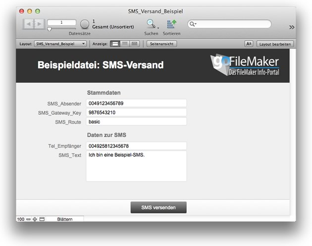 Download SMS Beispieldatenbank