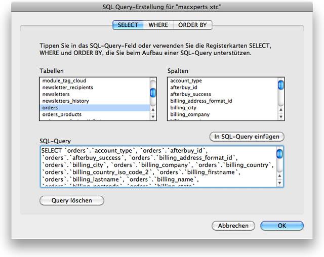 SQL-Abfrage der Tabelle 'orders' aus xt:Commerce