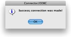 ODBC-Datenquelle erfolgreich getestet.