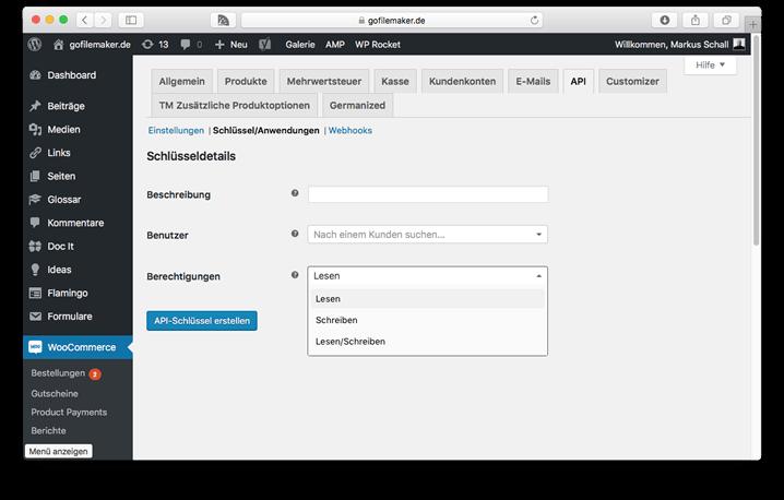 WooCommerce API Key erstellen