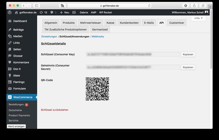 WooCommerce API-Schlüssel