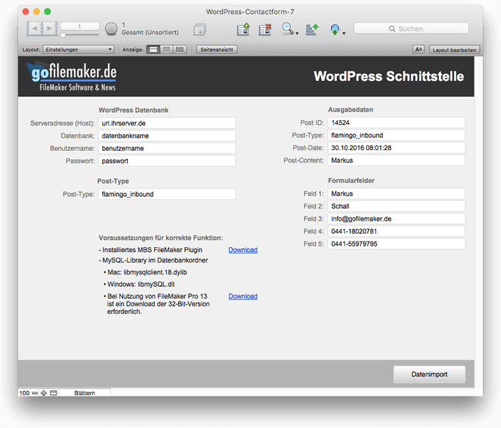 Schnittstelle von WordPress zu FileMaker